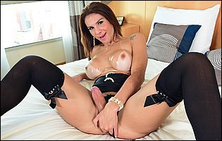 Fernanda Cristine in black stockings and sexy high heels exposes her hot body