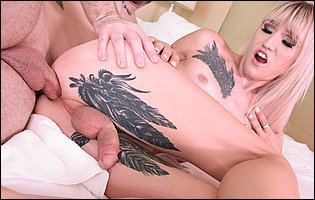 Cute tattooed blonde Lena Kelly getting her ass fucked